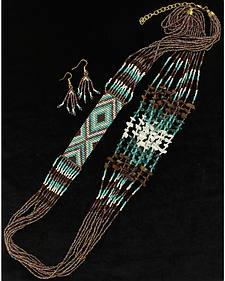 Blazin Roxx Turquoise Multi-Strand Necklace & Earrings Set