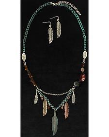 Blazin Roxx Feather Beaded Necklace & Earrings Set