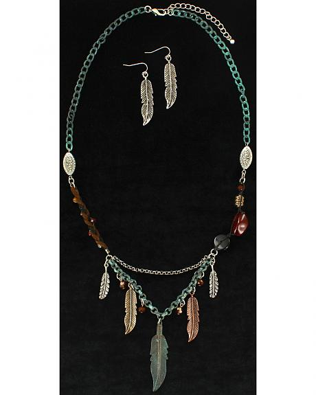 Blazin Roxx Feather Beaded Necklace & Earrings Set