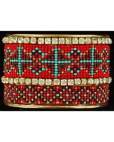 Blazin Roxx Rhinestone Beaded Tribal Cuff Bracelet