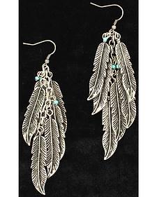 Blazin Roxx Silver Feather Earrings