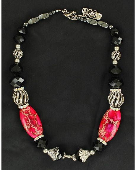 Silver-Tone, Pink & Black Beaded Necklace