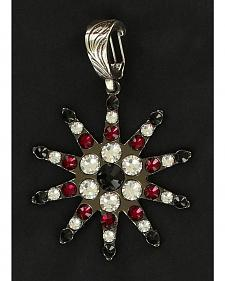 Rhinestone Embellished Spur Rowel Necklace Pendant