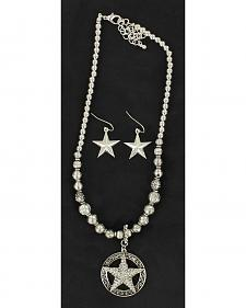 Blazin Roxx Beaded Star Charm Necklace & Earrings Set