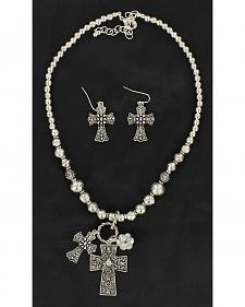 Blazin Roxx Double Cross Pendant Necklace & Earrings Set