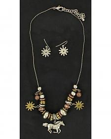 Blazin Roxx Spur Rowel & Horse Charm Necklace & Earrings Set