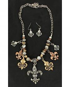 Blazin Roxx Silver, Gold & Copper Tone Fleur-De-Lis Necklace & Earrings Set