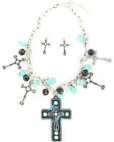 Blazin Roxx Turquoise & Black Beaded Cross Necklace & Earrings Set
