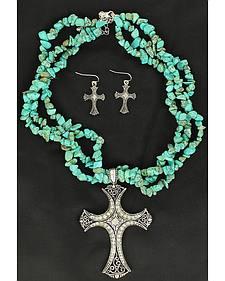 Blazin Roxx Turquoise Stone Triple Strand Cross Charm Necklace & Earrings Set