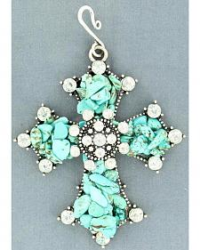Blazin Roxx Turquoise Chip Cross Necklace Pendant