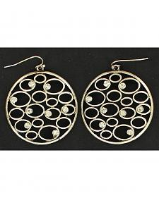 Blazin Roxx Round Circle Rhinestone Earrings
