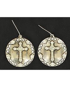 Blazin Roxx Antique Cross Concho Earrings