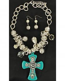 Blazin Roxx Turquoise & Zebra Cross Necklace & Earrings Set