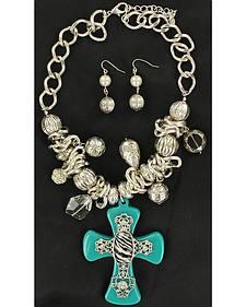 Blazin Roxx Turquoise & Zebra Cross Necklace & Earrings Set