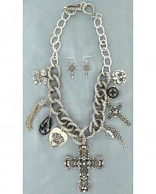 Blazin Roxx Western Charm Necklace & Earrings Set