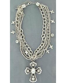 Blazin Roxx Multi Chain Cross Necklace