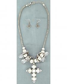 Blazin Roxx Crystal Cross Necklace & Earrings Set