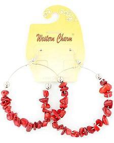 Blazin Roxx Western Charm Red Stone Large Hoop Earrings