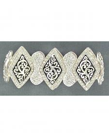 Blazin Roxx Embellished Diamond-shaped Concho Stretch Bracelet