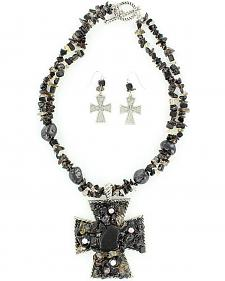 Blazin Roxx Chunky Stone Necklace & Earrings Set