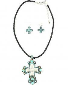 Blazin Roxx Turquoise & Silver Cross Necklace & Earrings Set