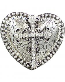 Nocona Heart Rhinestone Cross Buckle
