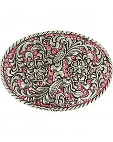 Nocona Women's Pink Crystal Floral Belt Buckle