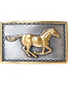 Nocona Running Horse Gold-tone Trimmed Buckle