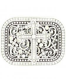 Nocona Crystal Cross & Floral Scroll Buckle