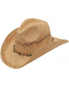 Blazin Roxx Beaded Hat Band Raffia Straw Cowgirl Hat