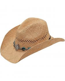Blazin Roxx Fancy Beaded Hat Band Raffia Straw Cowgirl Hat