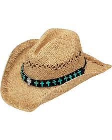 Blazin Roxx Faux Turquoise Cross Concho Band Raffia Straw Cowgirl Hat