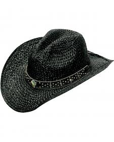 Blazin Roxx Bedecked Hat Band Black Raffia Straw Cowgirl Hat