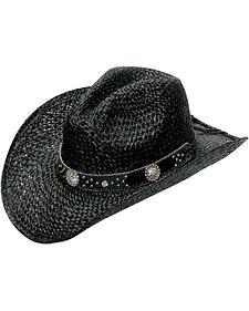 Blazin Roxx Crystal Concho Hat Band Raffia Straw Cowgirl Hat