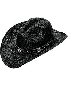 Blazin Roxx Crystal Concho Black Raffia Straw Cowgirl Hat