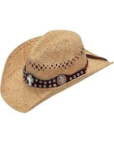 Blazin Roxx Rhinestone Cross Concho Hat Band Raffia Straw Cowgirl Hat