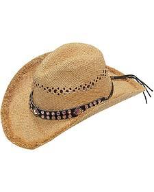 Blazin Roxx Pink Crystal Hat Band Raffia Straw Cowgirl Hat