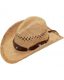 Blazin Roxx Scalloped Bedecked Croc Print Hat Band Raffia Straw Cowgirl Hat