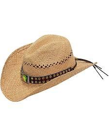 Blazin Roxx Iridescent Rhinestone & Concho Hat Band Raffia Straw Cowgirl Hat