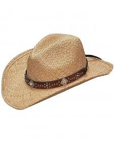 Blazin Roxx Scroll Studded Croc Print Hat Band Raffia Straw Cowgirl Hat