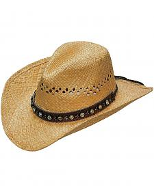 Blazin Roxx Flower Rhinestones Hat Band Raffia Straw Cowgirl Hat