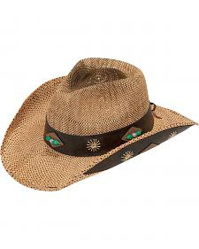 Blazin Roxx Raffia Straw Leather Trim Cowgirl Hat