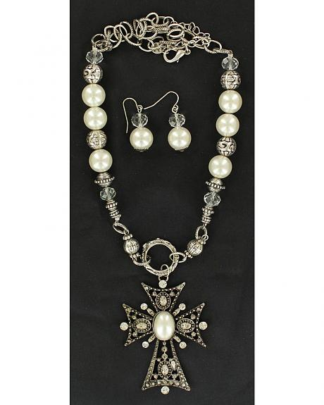Blazin Roxx Pearl Beaded Cross Necklace & Earrings Set