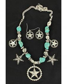 Blazin Roxx Turquoise Beaded Star Charm Necklace & Earrings Set