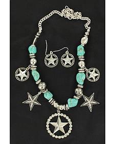 Blazin Roxx Turquoise Beaded Star Charm Necklace & Earrings Set