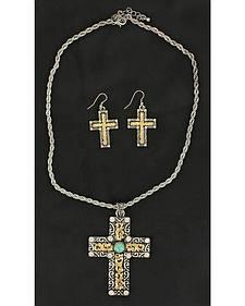 Blazin Roxx Two-Tone Cross Necklace & Earrings Set