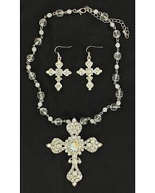 Blazin Roxx Rhinestone Embellished Cross Necklace & Earrings Set