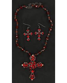 Blazin Roxx Rhinestone Embellished Cross Necklace & Earrings Set