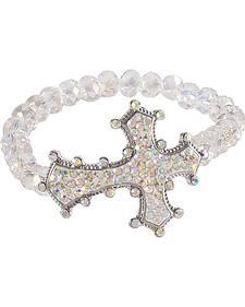 Blazin Roxx Rhinestone Cross Beaded Bracelet