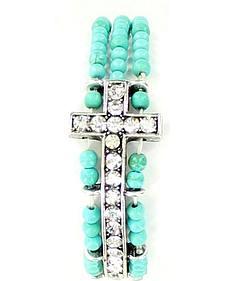 Blazin Roxx Triple Strand Turquoise Beaded Cross Bracelet